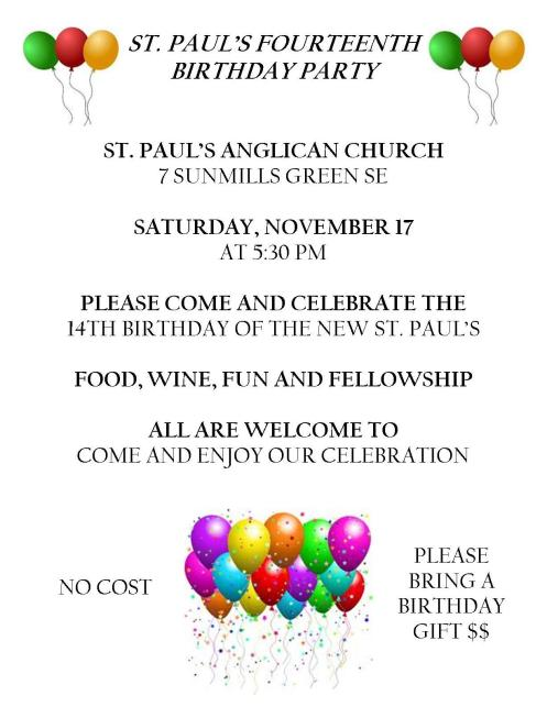 Youre invited to our birthday party on november 17 pastors postings our new building is turning 14 and we are celebrating with a party filmwisefo Choice Image